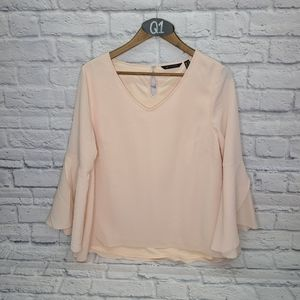 H By Halston Blush Flowing Long Sleeve V Neck Top